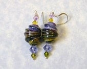 Shades of Purple and Green Swirled Art Glass Lampwork Beads and Crystal Earrings