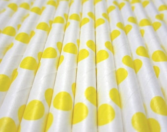 Yellow Polka Dot Paper Straws