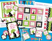 She's About to POP Girl Baby Shower. DIY Party Printables Package. Pink and Lime Green. Customized just for you.