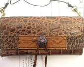 Recycled leather wallet. Brown Leather, Embossed Wallet,iphone, Droid, Samsung Galaxy Wallet, Upcycled Leather,