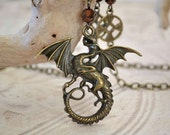 Dramatic Dragon Necklace, Dragon and Celtic Knot Long Chain Necklace