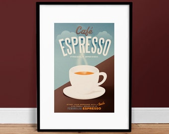 Cafe Espresso Poster • Vintage Poster • Retro Art Print • Coffee