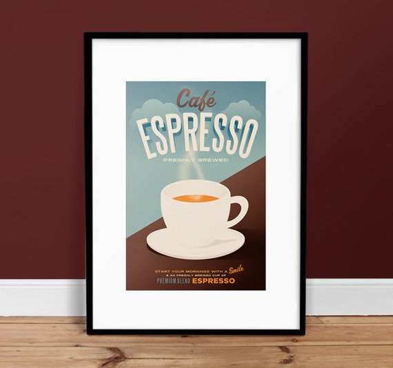 Cafe Espresso Poster Vintage Poster Retro Art Print