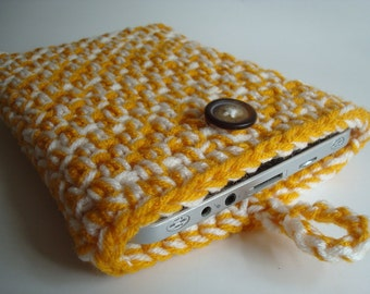iPad mini - Nook - Kindle - case cover - handmade crochet - Gold and White