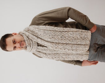 Extra Long Mens Scarf. Chunky Wool Scarf. Hand Knit Scarf. Winter Scarf. Mens Scarves. Gift For Him. Men's Accessories.