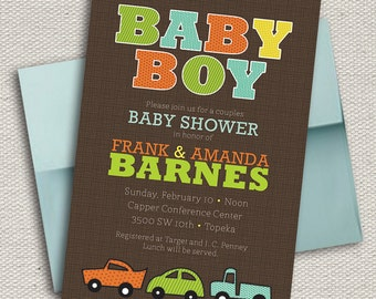 Baby Boy Car Shower Invitation - Green, Yellow, Orange, Blue