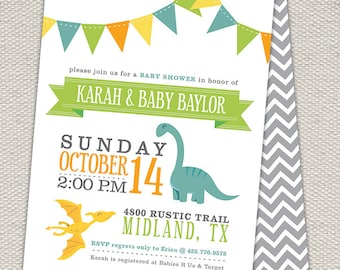 Double Sided Dinosaur Baby Shower Invitation // Bunting Flags // Blue, Orange, Yellow, Green // Printable File