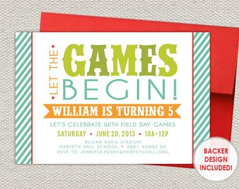 Colorful Field Day Birthday Party Invitation // Printable File // Red, Orange, Green, Blue, Turquoise