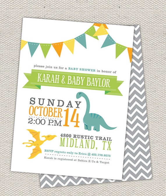 Double Sided Dinosaur Baby Shower Invitation // Bunting Flags