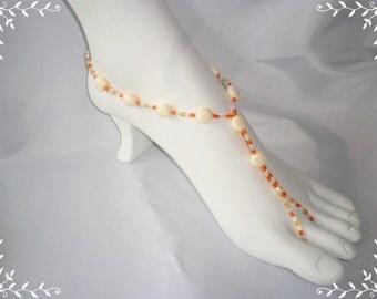 Beige Tangerine Anklet Jewelry / Barefoot Accessories / Sandals Jewelry / Barefoot Jewelry