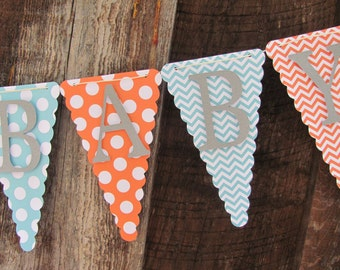 Welcome Baby Shower Banner, Baby Shower Decorations, Gender Neutral Banner, Gender Neutral Baby Shower Banner, Polka Dot and Chevron Banner