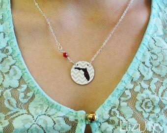 "1"" enameled chevron state necklace with Swarovski crystal"
