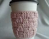 Pink Crochet Coffee Cup Cozy