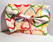 Heart print clutch bag, make up bag with over sized bow