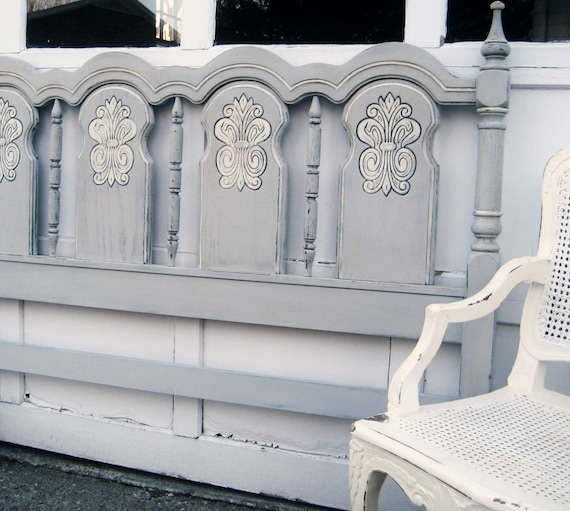 Vintage Wooden Queen Or Full Size Painted Headboard