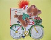 Vintage Hallmark LITTLE BEAR on BICYCLE Birthday Greeting Card--Adorable Artwork--ca 1940s/50s--A102