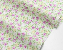 "Cotton Mini Purple Roses (43 x 36"") Rose Garden - Green - per Yard 21123"