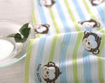 "Thin Cotton Jersey Knit Baby Monkey and Stripes (70 x 36"") per Yard 37341"