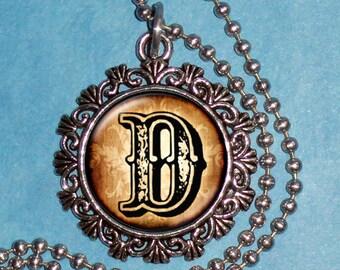 """Letter """"D"""" Art Pendant,  Alphabet Resin Pendant, Vintage Silver, Black & Brown Photo Pendant"""