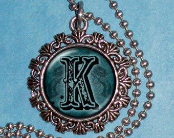 "Letter ""K"" Art Pendant,  Alphabet Resin Pendant, Vintage Silver, Black & Blue Photo Pendant"