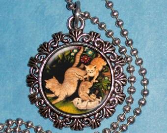 Garden Cats Art Pendant, Cats Resin Pendant, Kittens Vintage Art, Photo Pendant Charm