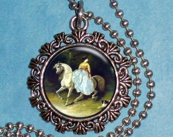 Horsewoman Art Pendant, Lady, Horse and Dog Resin Pendant, Alfred De Dreux Art, Photo Pendant Charm