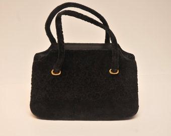 Mid Century Lewis Black Velvet Purse Handbag