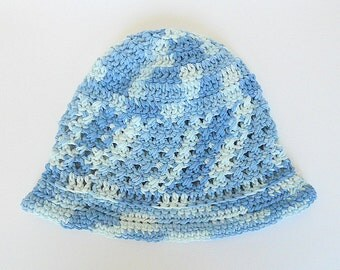 Preteen  Blue Hat Boy  Cap Girl Cotton  Beanie Adult  Varigated Pastel Gender Neutral Summer Clothing Ready To Ship