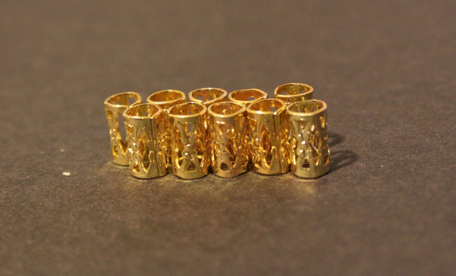 Dreadlock Beads 10 mini Gold DREADLOCK...