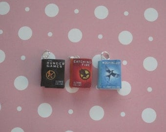 The Hunger Games, Catching Fire, Mockingjay book charm