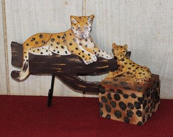 Vintage Hand Painted Leopard Wall Hook & Cheetah Trinket Box - Safari - Housewares - Home Decor - India