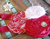 RED and WHITE headband -Boutique Style Elastic Headband -white and red rosettes - Girls Headband - red and white
