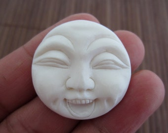Excellent Handmade Funny Face, Carved bone cabochon, Bone carving, Jewelry making Supplies B3447