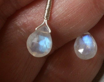 Rainbow Moonstone Drop Earrings Translucent Minimalist Teardrop Romantic Sweetheart Gift