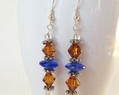 Beaded earrings, vintage amber glass beads, blue glass beads, siver accents