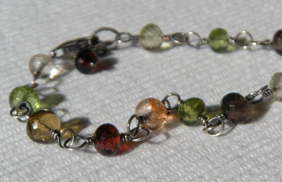 Mixed Gemstone Bracelet with Garnet, Citrine, Peridot, Sunstone