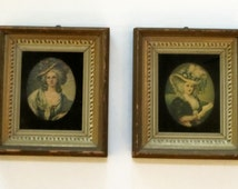 Vintage Shadowbox Recessed Frame Victorian Lady C. & A. Richards USA, French Chic