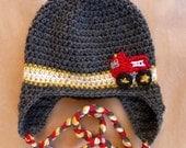 firefighter baby, firefighter, baby boy hat, crochet hat