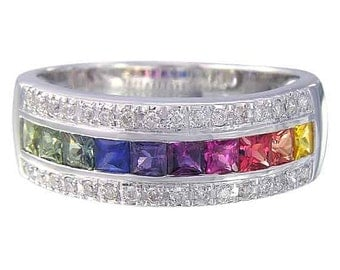 Multicolor Rainbow Sapphire & Diamond Channel Set Ring 14K White Gold (2.3ct tw) : sku 1533-14k-wg
