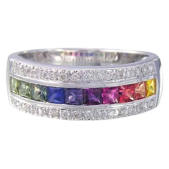 multicolor rainbow sapphire diamond channel set ring 14k white gold 23ct tw sku 1533 14k wg - Rainbow Wedding Rings