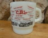 Vintage 70s Fire King CBer Milk Glass stacking mug