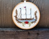 Hoop art hand embroidery nautical ship with embroidered flowers and American flag