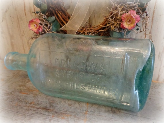 late 1800's / apothecary bottle / fellows syrup of hypophosphites / primitive blue flask / EPSTeam