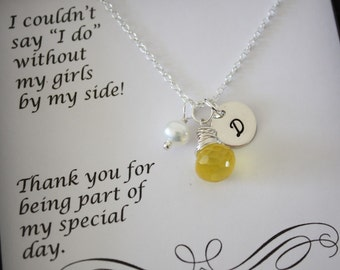 Bridesmaid Personalized Necklace, Bridesmaid Gift, Initial Charm, Gemstone Sterling Silver Necklaces, Thank You Card