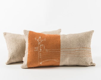 Orange cushion - Urban pattern 2