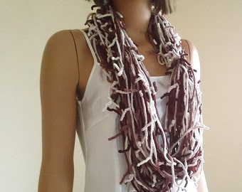 Infinity scarf, circle scarf, fringed scarf, cowl, neck warmer in brown and cream shades, Limited edition :)
