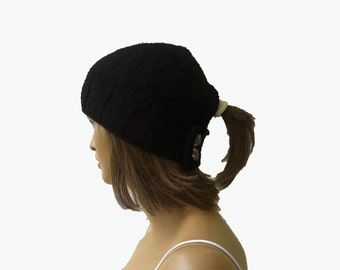 Ponytail hat, holed beret, Womens Hat Knitted Beanie Winter Hat Knitted womens hat holed women beret black hat gift for her