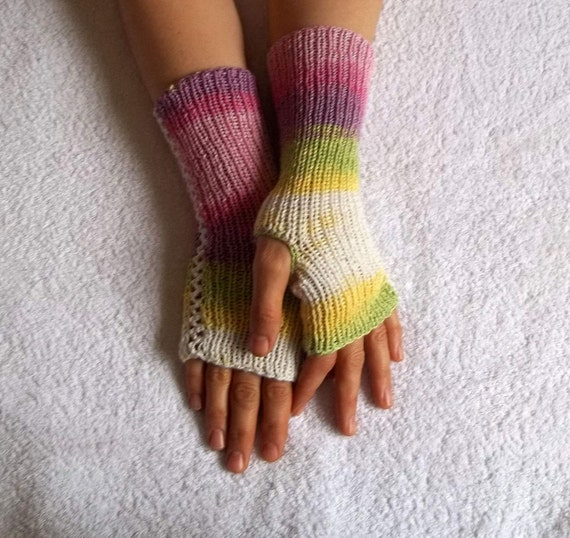 Knitted fingerless gloves in pastel colors, knitting, pink, white, yellow, gift for her, spring trends, gifts for girlfriend, gift for mom