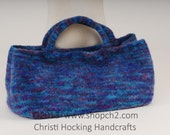 Felted Purse, Hand-knit Purse, Beaded Purse, Blue Purse