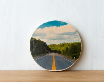 Road Trip Circle Mini Photo Transfer by Patrick Lajoie, highway, driving, camping